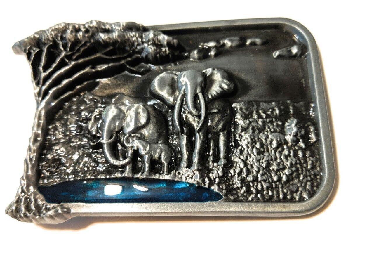 ♈ Elephant Safari Belt Buckle Wildlife Raised Graphics Antique Silver finish USA