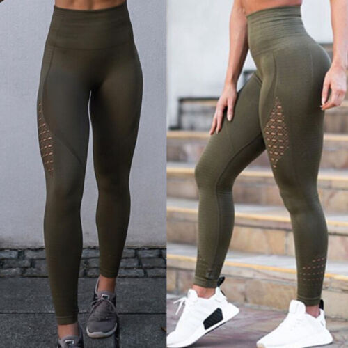 Womens Sports Compression Fitness Leggings Seamless Running Yoga Pants Trousers