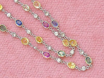 "DECO STYLE MULTI COLOR SAPPHIRE DIAMOND BY-THE-YARD PLATINUM 20"" CHAIN NECKLACE"