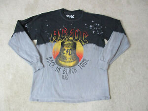 ACDC-Back-In-Black-Long-Sleeve-Concert-Shirt-Adult-Small-Black-Gray-Rock-Mens