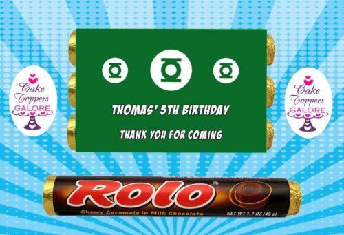 Personnalisé green lantern super-héros chocolat emballages s/'adapte rolos ou similaire