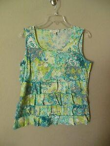 Coldwater-Creek-Women-039-s-Size-Medium-10-12-Sleeveless-Multi-Color-Layered-Blouse