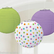 3 Assorted Purple Green Spots Party Round Paper Ball Lanterns Decorations