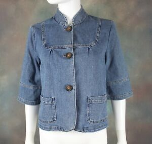 Relativity Women's Jean Jacket Size Small 3/4 Sleeves Blue Denim Button Front