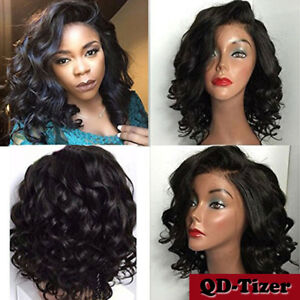 Charming Curly Bob Wig Synthetic Lace Front Wigs With Baby Black ... 787634cf9588