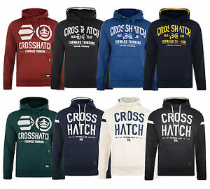Crosshatch-Men-039-s-Printed-Hooded-Sweatshirt-Fleece-Hoodie-Blue-Navy-Black-New-Top