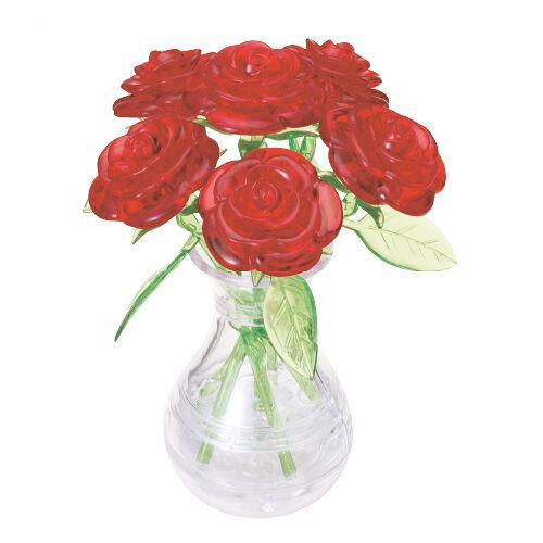 3D Crystal Puzzle - 6 rote Rosen in der Vase 47 Teile