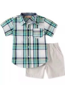 NEW CARTERS BABY BOYS 2 PIECE SET SHIRT WITH COLLAR SHORTS PLAID ANCHORS STRIPES