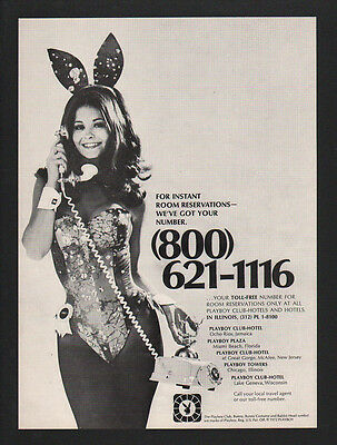 1974 PLAYBOY BUNNY Takes PLAYBOY CLUB /& HOTEL Telephone Reservations VINTAGE AD