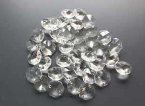 30PCS-20mm-2-Hole-Clear-Crystal-Glass-Octagon-Replace-Beads-Chandelier-Lamp-Part