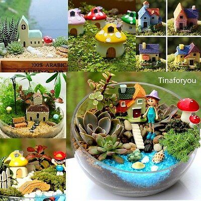 Various Mushroom house for Miniature Garden Ornament Pots Fairy Dollhouse Decor