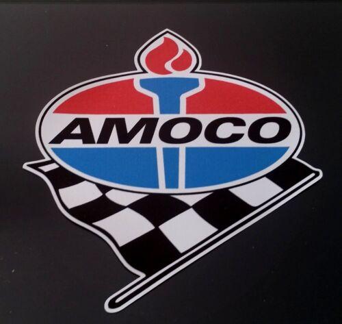 AMOCO GAS Vinyl Sticker Decal Garage Station PROMO RACING F1 FLAG Vintage Style