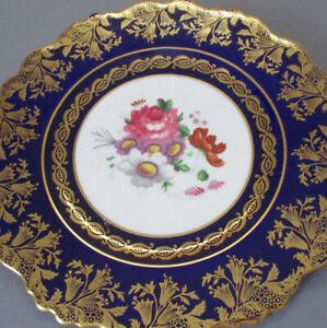 "Vintage PARAGON English Bone China 8.5"" Plate FLOWERS * COBALT w Elaborate GILT"