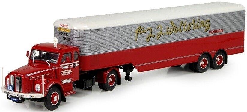 TEK70148 - Camion 4x2 SCANIA L76 et remorque frigo 2 essieux aux couleurs transp