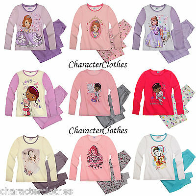 New Girls Official CHARACTER Long Pyjamas Kids Cartoon Nightwear Age 2-12 Years