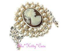Vintage Deco Bridal Gold Pearl Large Cameo Cuff Bracelet w/ Swarovski Crystals