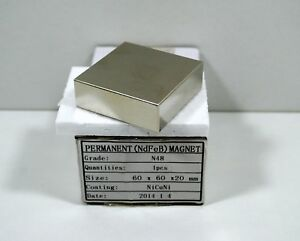 Neodym Magnet NdFeb 60 x 60 x 20 mm - N48 NiCuNi