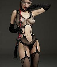 HOT fishnet Bodystocking Sexy Lingerie Costume Mini Dress Teddy Black 6-12