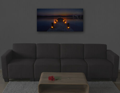 Timer Steg flackernd Wanduhr 110x55cm Leinwandbild Leuchtbild LED-Bild