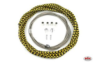 Checker Black /& Yellow ProMX 5mm Lined BMX Brake Cable Set Suit Front /& Rear