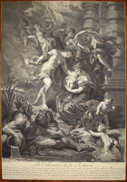 stampa antica old print 1709 after Rubens Nascita Regina Maria dei Medici