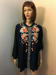 SOLITAIRE-S-Navy-Boho-Floral-EMBROIDERED-TOP-Button-Down-BLOUSE-Roll-Up-Sleeve