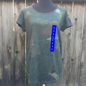 Alternative-Womens-T-Shirt-Green-Camo-Dreamstate-Short-Sleeve-Scoop-Neck-L-New