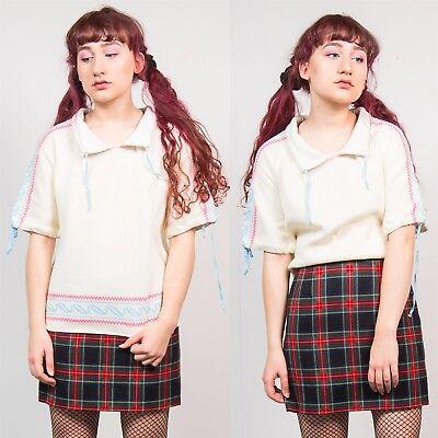 Anni'70 Da Donna Bianco Lavorato A Maglia T-shirt Top Vintage A Maniche Corte Con Colletto Casual 14 16-mostra Il Titolo Originale