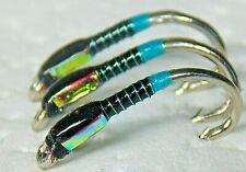 12 Silver Holographic Buzzer Top Quality Trout Flies Choice Of Size Qty Trout