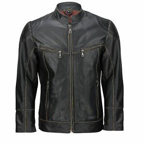 Mens Biker Real Smart Retro Jacket New Leather Off Rub Casual Effet bords Black wxwq4nSfrO