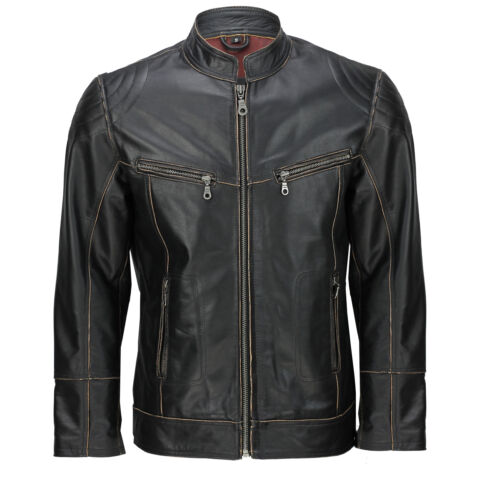 Jacket Smart Black Real Off bords Effet Rub New Leather Retro Mens Casual Biker 6RX8xqZRUw