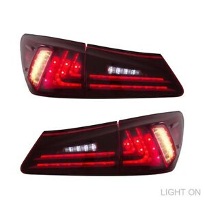 Tail Lights Assembly Fits For Lexus IS250 IS350 ISF 2006-2013 W/ LED Red Lamp