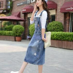 Women-039-s-Denim-Suspender-Skirts-Loose-Overalls-Dress-Casual-Sundress-Jeans-Skirts