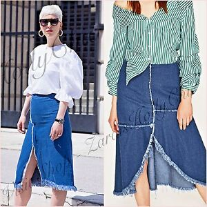 9f70ea16e7 Zara Blue Denim Slits Frayed Midi Skirt Size XS S M 6 8 10 UK US 2 4 ...