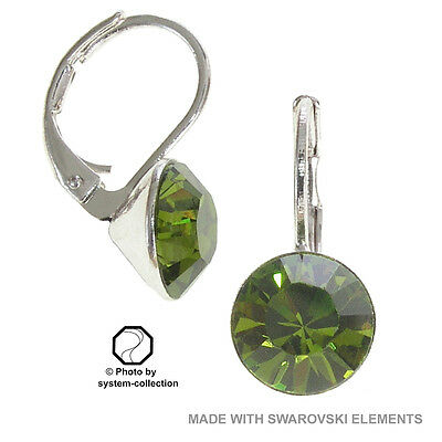 Kale 8mm aretes con swarovski elements verde color: olivino