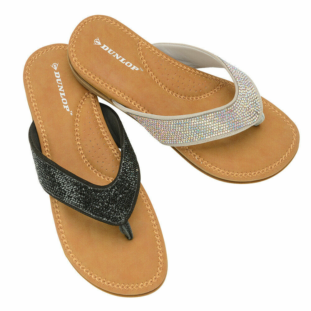 Women's Dunlop Eryn Glitter Cushioned Flip Flops Ladies Slip On Summer Sandals