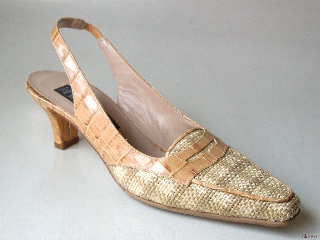 New  385 PREVATA 'Dorset' beige leather rafia slingbacks shoes  - gorgeous