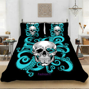 Skull Black Net Doona Quilt Duvet Cover Set Single/Double/Queen/King Bed Linen