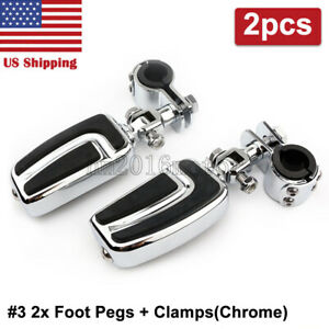 2x Chrome Crash Bar Foot Pegs Pedals For Harley Street Electra Road Glide King