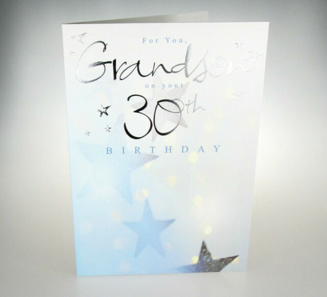 For You Grandson On Your 30th Birthday Great 30 Card With Really Lovely