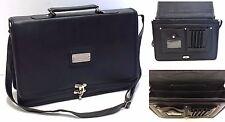 Mens Ladies Faux Leather Laptop Bag Executive Pilot Cross Body Busines Briefcase