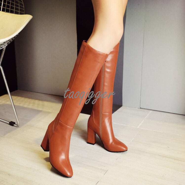 WOMENS BLOCK CHUNKY HEEL KNIGHT BOOTS FULL ZIP KNEE HIGH BOOTS POINTED TOE SHOES
