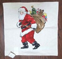 Pottery Barn Painted Santa Claus Holiday Christmas Red Pillow Cover 20