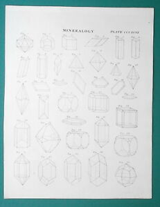 MINERALOGY-Forms-of-Crystals-Minerals-1818-Antique-Print