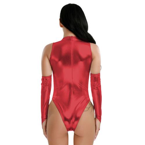 Women One-Piece Swimwear High Cut Sleeveless Leotard Bodysuit Clubwear Costumes