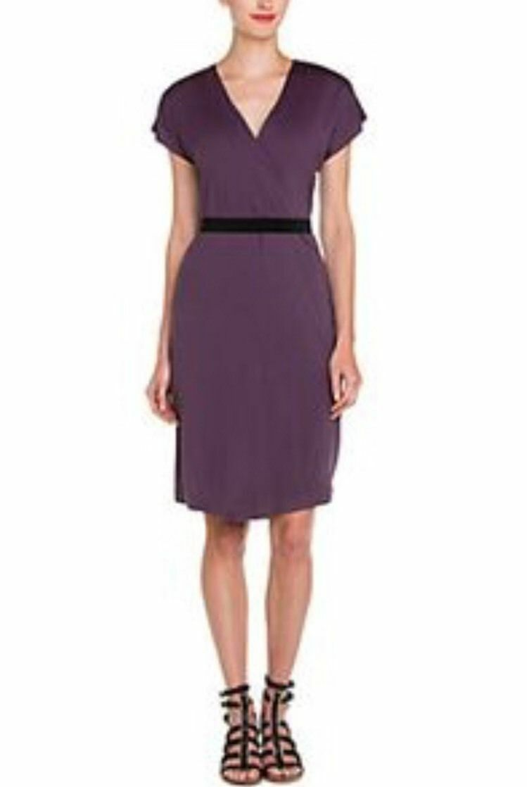 TORY BURCH NWT Woherren Garnet V-neck Belted Silk dress Sz L Large lila wrap 77