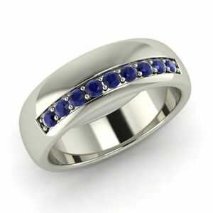 6 Mm Classic Men S Wedding Ring With Blue Sapphire In Solid 14k