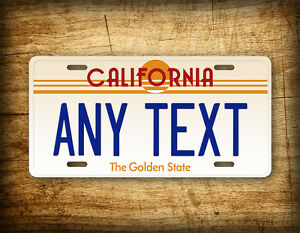 vintage california custom license plate 1980s retro any text