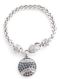 Baseball-Softball-Navy-Blue-Crystal-Fashion-Silver-Lobster-Claw-Bracelet-Jewelry