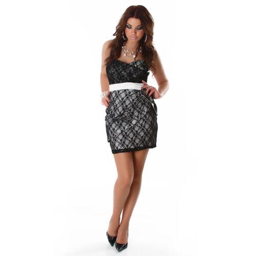 Taglia Nero Glamour Abito Vestito 38 bianco Pizzo 40 Fashion Post Sexy Zip Xs ftq0d7w0x